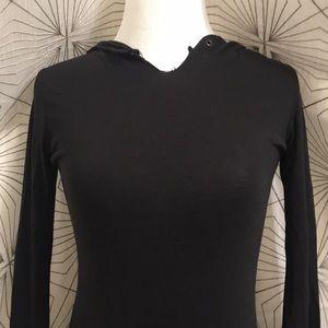 H&M Dresses - Mini Black Long-Sleeve Shirt Dress w/ Hood